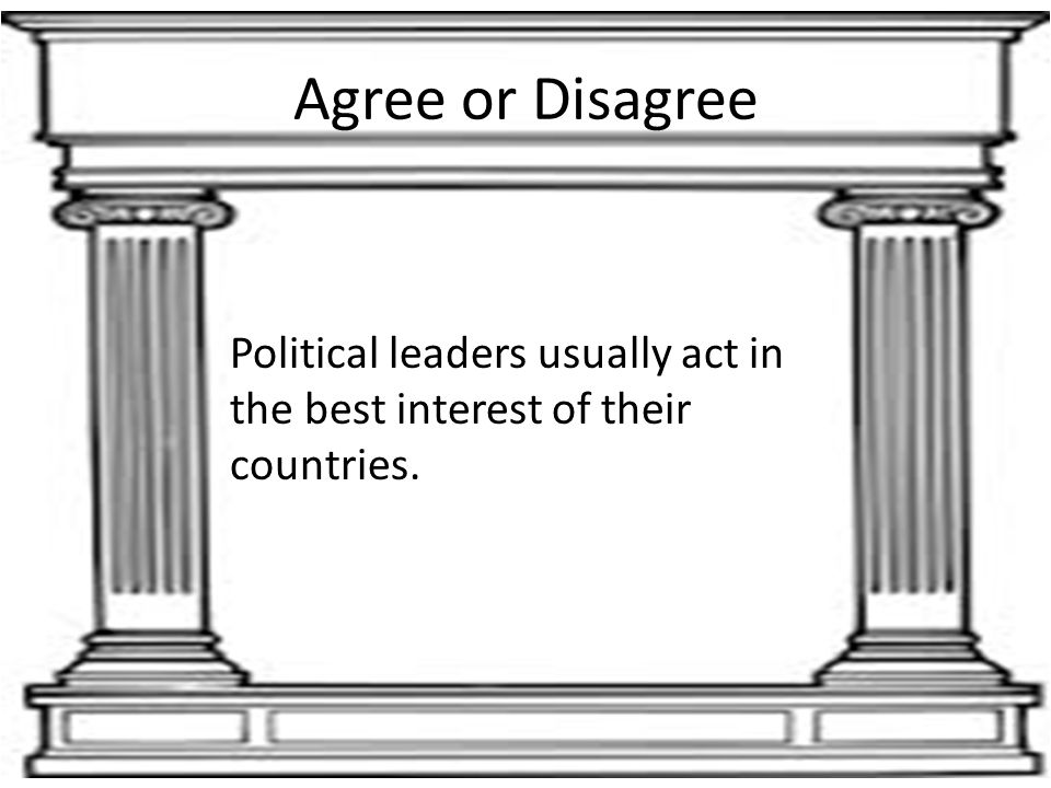 Agree or Disagree Political leaders usually act in the best interest of their countries.