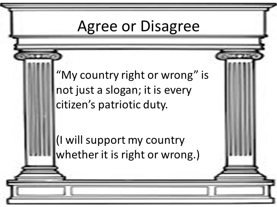 "Agree or Disagree ""My country right or wrong"" is not just a slogan; it is every citizen's patriotic duty. (I will support my country whether it is rig"