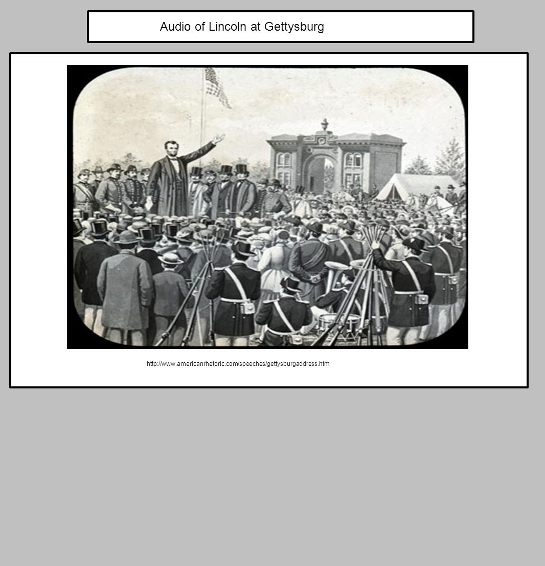 http://www.americanrhetoric.com/speeches/gettysburgaddress.htm Audio of Lincoln at Gettysburg