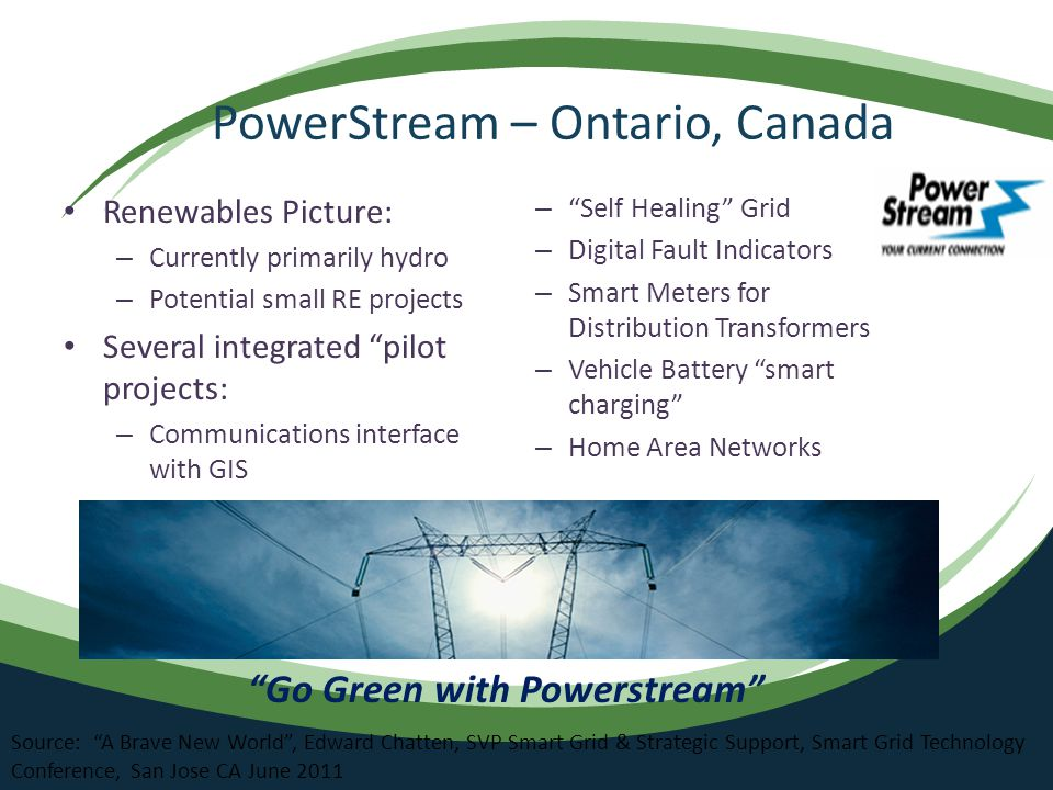PowerStream – Ontario, Canada Renewables Picture: – Currently primarily hydro – Potential small RE projects Several integrated pilot projects: – Communications interface with GIS – Self Healing Grid – Digital Fault Indicators – Smart Meters for Distribution Transformers – Vehicle Battery smart charging – Home Area Networks Go Green with Powerstream Source: A Brave New World , Edward Chatten, SVP Smart Grid & Strategic Support, Smart Grid Technology Conference, San Jose CA June 2011
