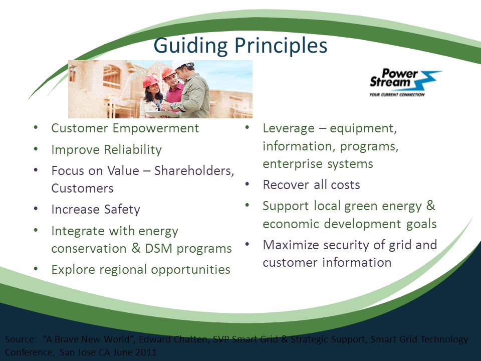 Guiding Principles Customer Empowerment Improve Reliability Focus on Value – Shareholders, Customers Increase Safety Integrate with energy conservation & DSM programs Explore regional opportunities Leverage – equipment, information, programs, enterprise systems Recover all costs Support local green energy & economic development goals Maximize security of grid and customer information Source: A Brave New World , Edward Chatten, SVP Smart Grid & Strategic Support, Smart Grid Technology Conference, San Jose CA June 2011