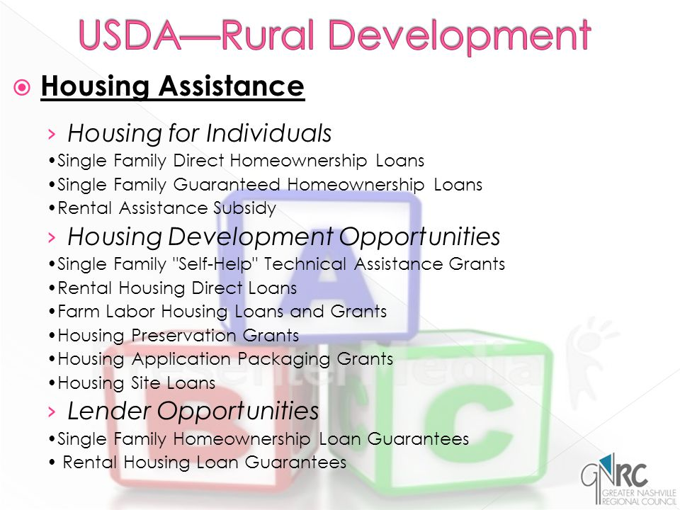  Housing Assistance › Housing for Individuals Single Family Direct Homeownership Loans Single Family Guaranteed Homeownership Loans Rental Assistance Subsidy › Housing Development Opportunities Single Family Self-Help Technical Assistance Grants Rental Housing Direct Loans Farm Labor Housing Loans and Grants Housing Preservation Grants Housing Application Packaging Grants Housing Site Loans › Lender Opportunities Single Family Homeownership Loan Guarantees Rental Housing Loan Guarantees
