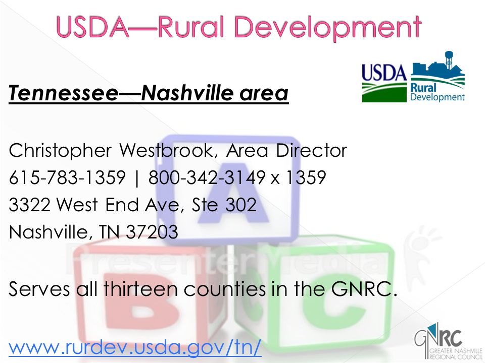 Tennessee—Nashville area Christopher Westbrook, Area Director 615-783-1359 | 800-342-3149 x 1359 3322 West End Ave, Ste 302 Nashville, TN 37203 Serves all thirteen counties in the GNRC.