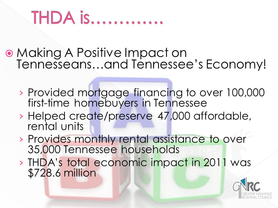  Making A Positive Impact on Tennesseans…and Tennessee's Economy.