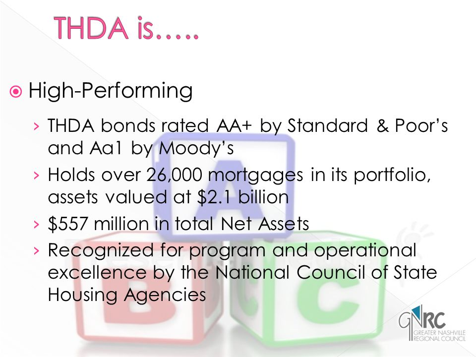  High-Performing › THDA bonds rated AA+ by Standard & Poor's and Aa1 by Moody's › Holds over 26,000 mortgages in its portfolio, assets valued at $2.1 billion › $557 million in total Net Assets › Recognized for program and operational excellence by the National Council of State Housing Agencies