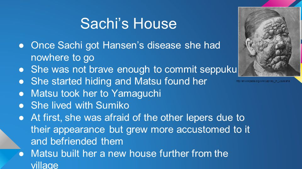 Sachi's House ●Once Sachi got Hansen's disease she had nowhere to go ●She was not brave enough to commit seppuku.