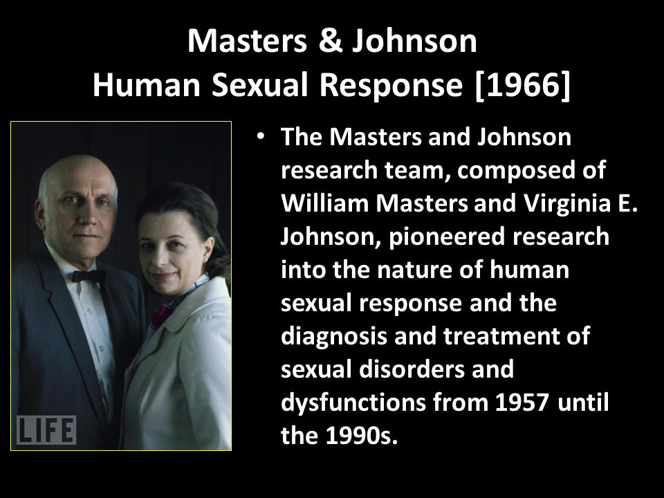 Masters & Johnson Human Sexual Response [1966] The Masters and Johnson research team, composed of William Masters and Virginia E.