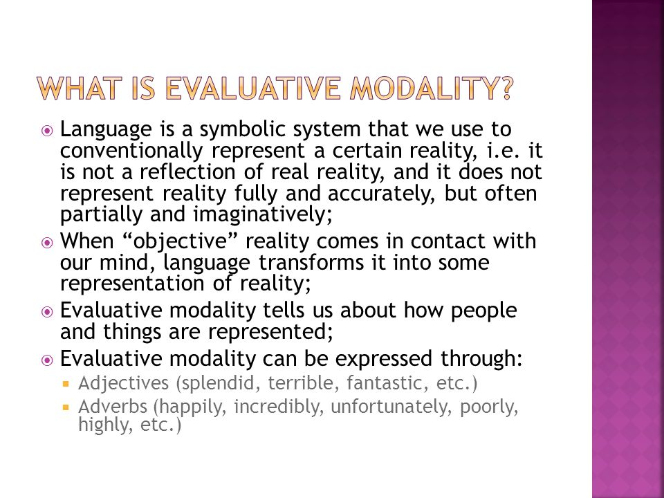  Reality Language Representation of reality