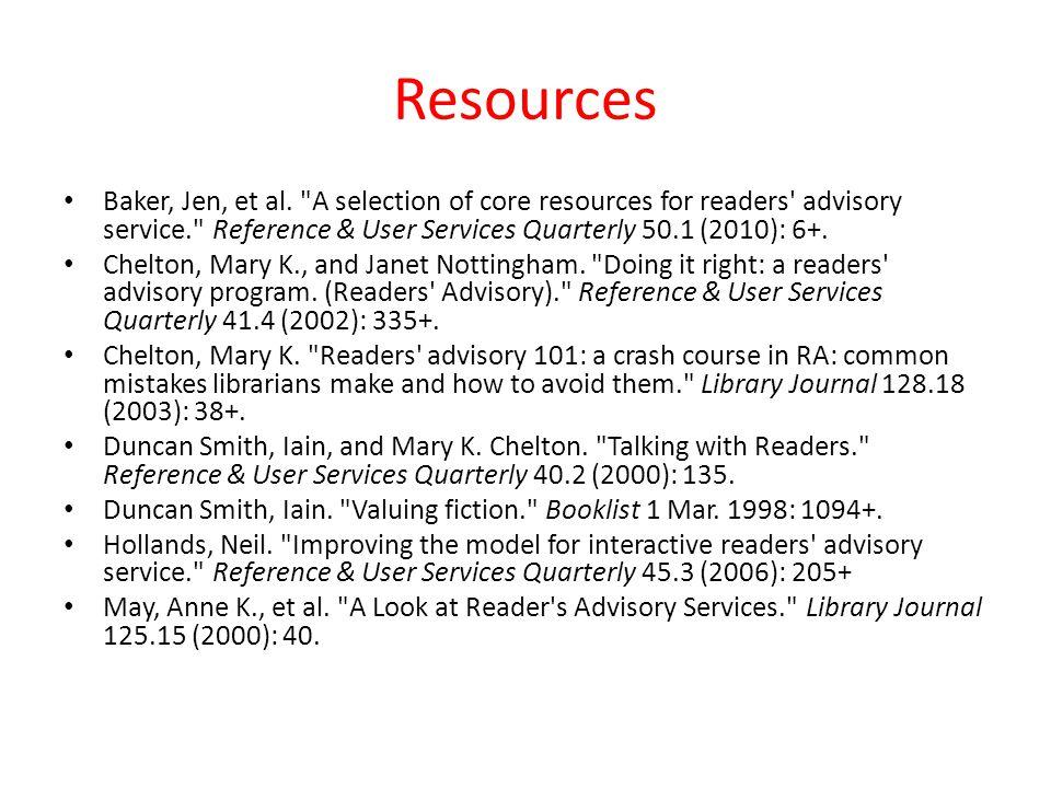 Resources Baker, Jen, et al.