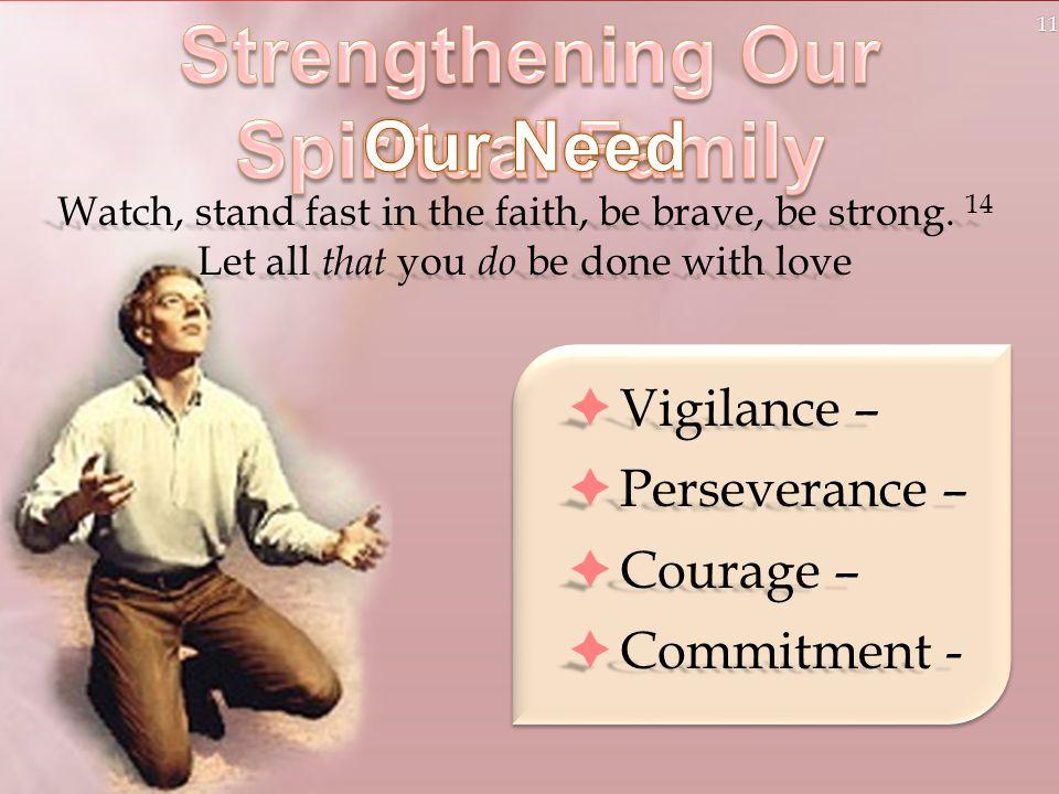 11  Vigilance –  Perseverance –  Courage –  Commitment -