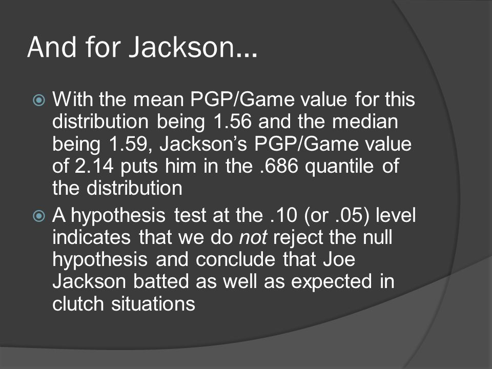 And for Jackson…  With the mean PGP/Game value for this distribution being 1.56 and the median being 1.59, Jackson's PGP/Game value of 2.14 puts him in the.686 quantile of the distribution  A hypothesis test at the.10 (or.05) level indicates that we do not reject the null hypothesis and conclude that Joe Jackson batted as well as expected in clutch situations