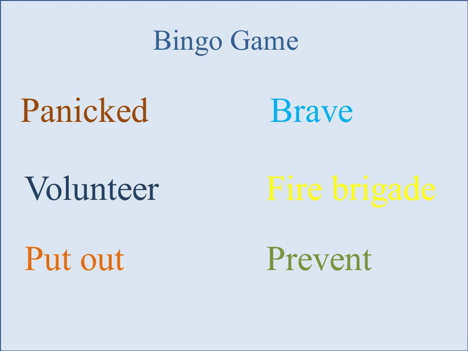 Panicked Volunteer Put outPrevent Brave Fire brigade Bingo Game
