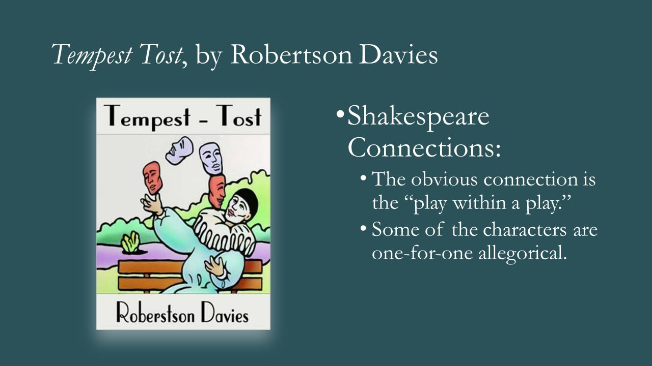 "Tempest Tost, by Robertson Davies Shakespeare Connections: The obvious connection is the ""play within a play."" Some of the characters are one-for-one"