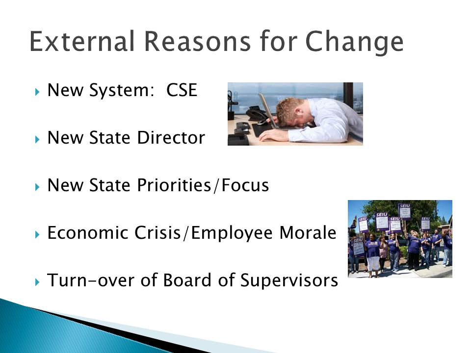  New System: CSE  New State Director  New State Priorities/Focus  Economic Crisis/Employee Morale  Turn-over of Board of Supervisors