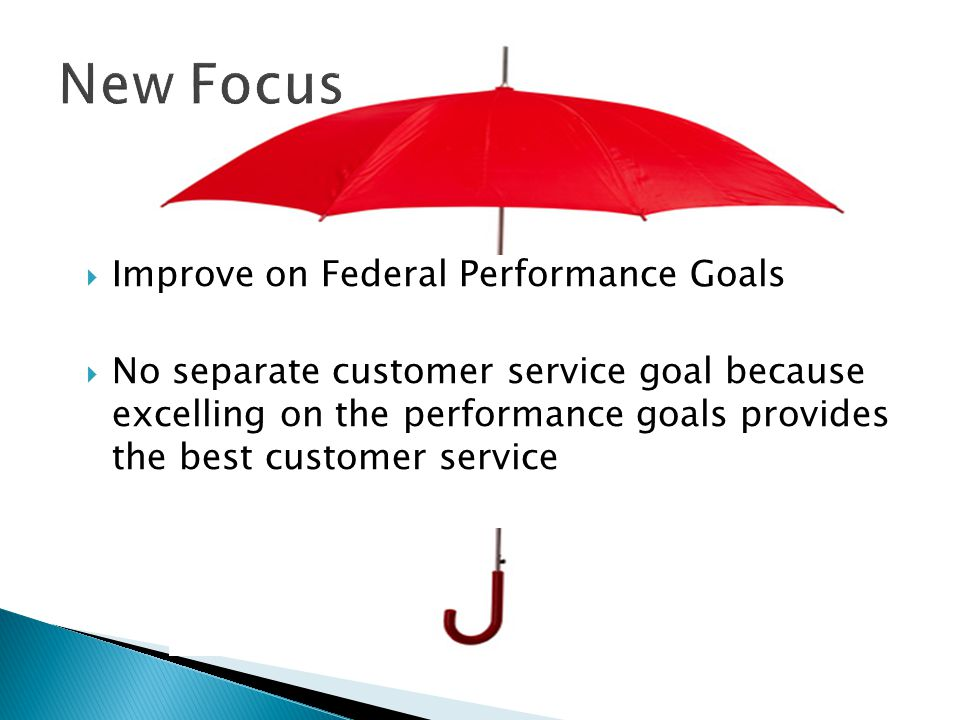  Improve on Federal Performance Goals  No separate customer service goal because excelling on the performance goals provides the best customer service