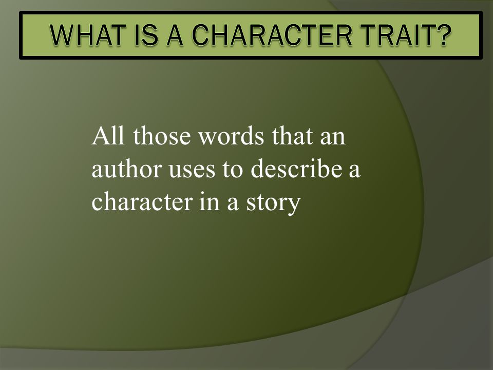 All those words that an author uses to describe a character in a story