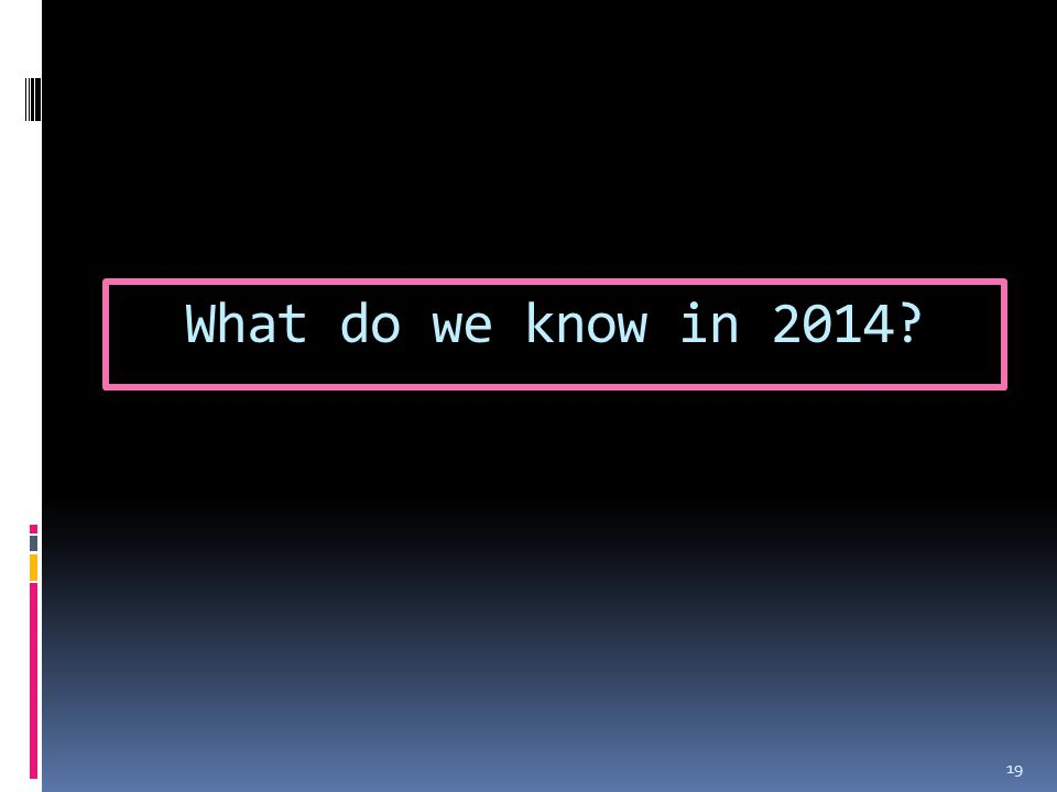What do we know in 2014 19
