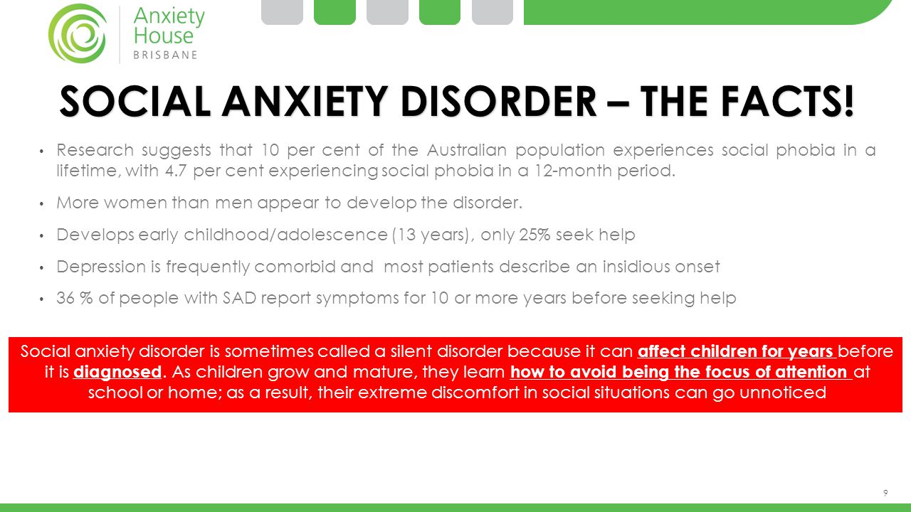 9 SOCIAL ANXIETY DISORDER – THE FACTS! Research suggests that 10 per cent of the Australian population experiences social phobia in a lifetime, with 4
