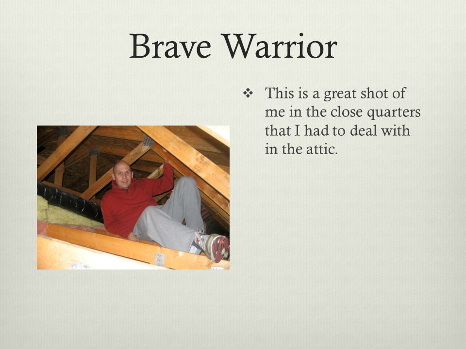Brave Warrior  This is a great shot of me in the close quarters that I had to deal with in the attic.