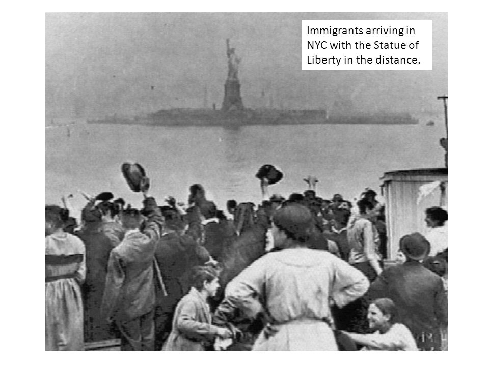 Immigrants arriving in NYC with the Statue of Liberty in the distance.