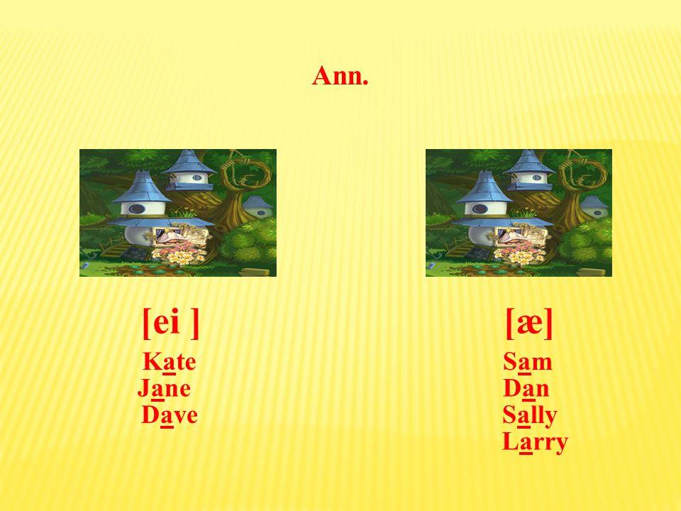 Dave, Ann. [æ][ei ] SamSamKate DanDan Sally Jane Larry