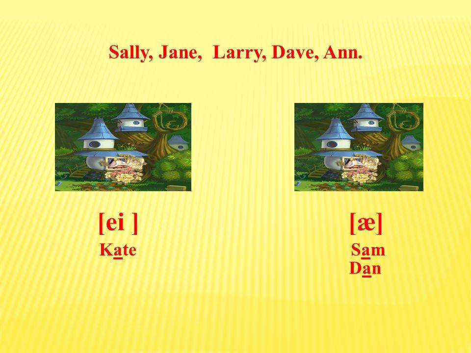 Sally, Jane, Larry, Dave, Ann. [æ][ei ] Sam SamKate Dan