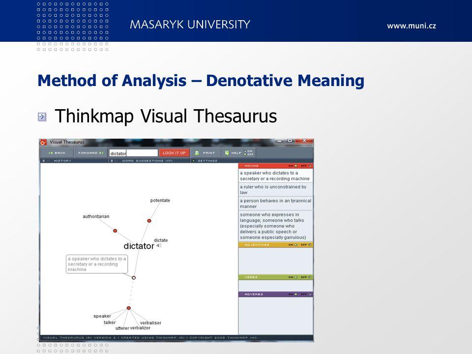 Method of Analysis – Denotative Meaning Thinkmap Visual Thesaurus