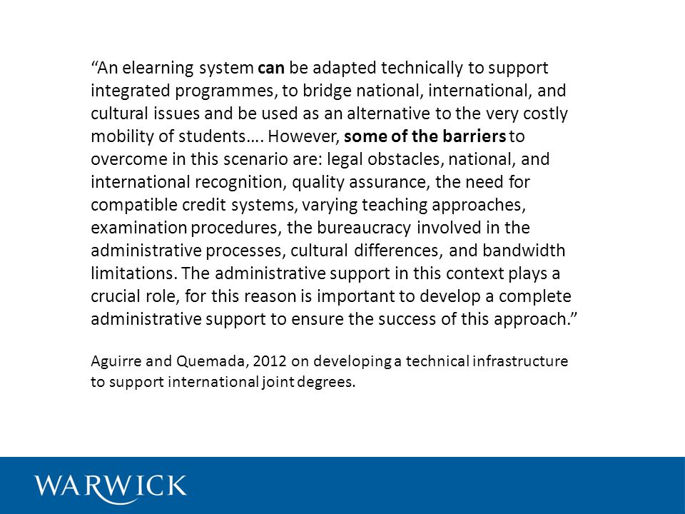 An elearning system can be adapted technically to support integrated programmes, to bridge national, international, and cultural issues and be used as an alternative to the very costly mobility of students….