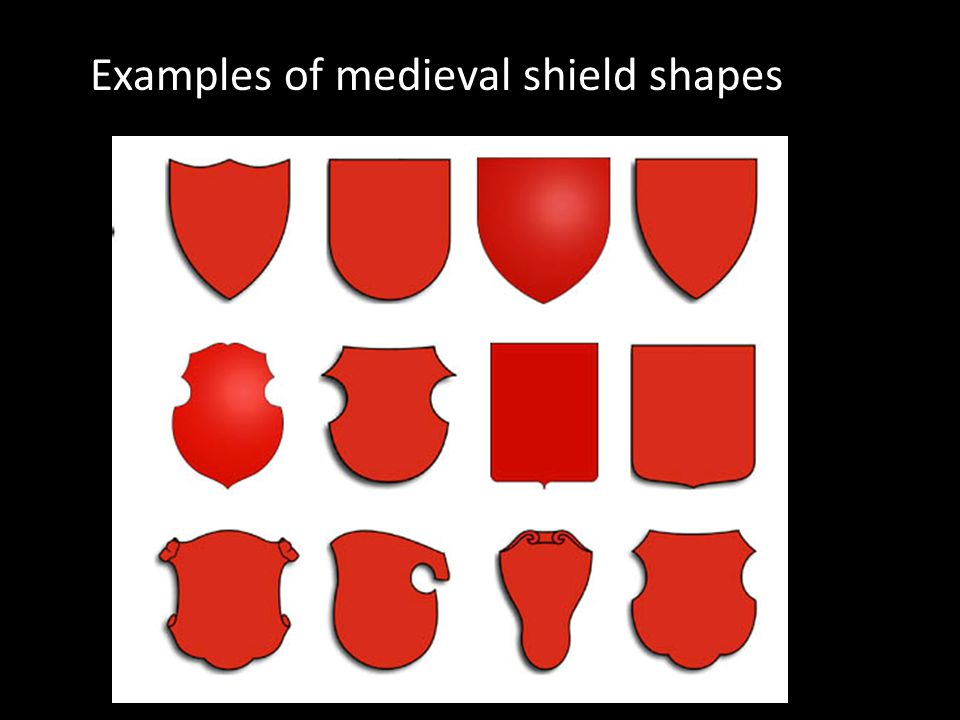Examples of medieval shield shapes