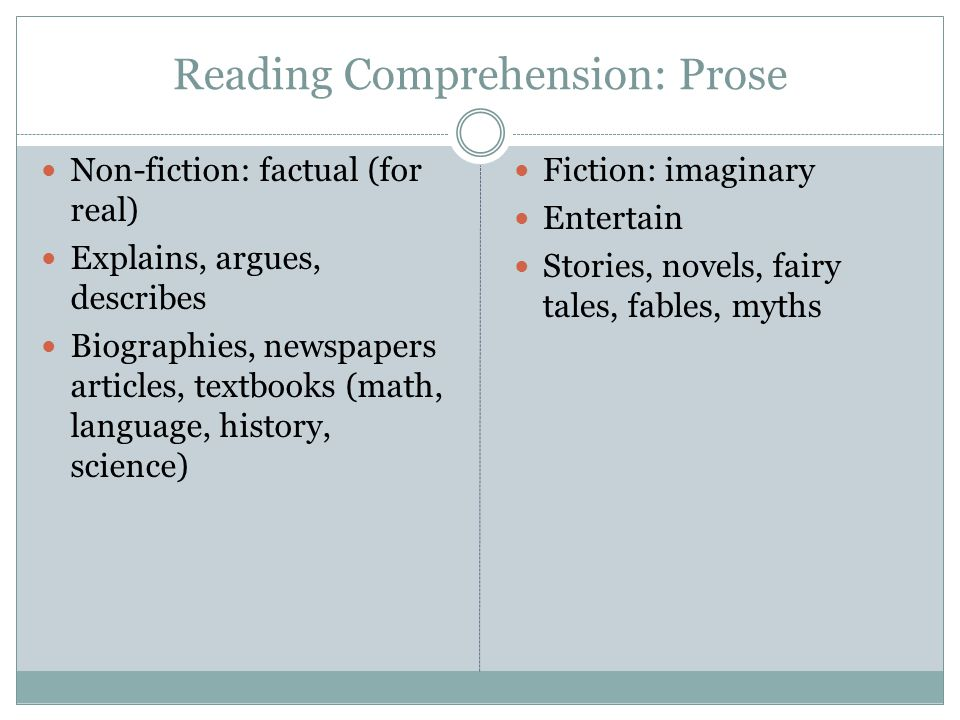 Reading Comprehension: Prose Non-fiction: factual (for real) Explains, argues, describes Biographies, newspapers articles, textbooks (math, language,