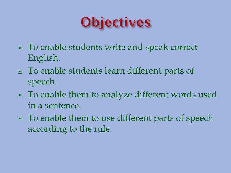 Words divided into different kinds or classes according to their use are called parts of speech.