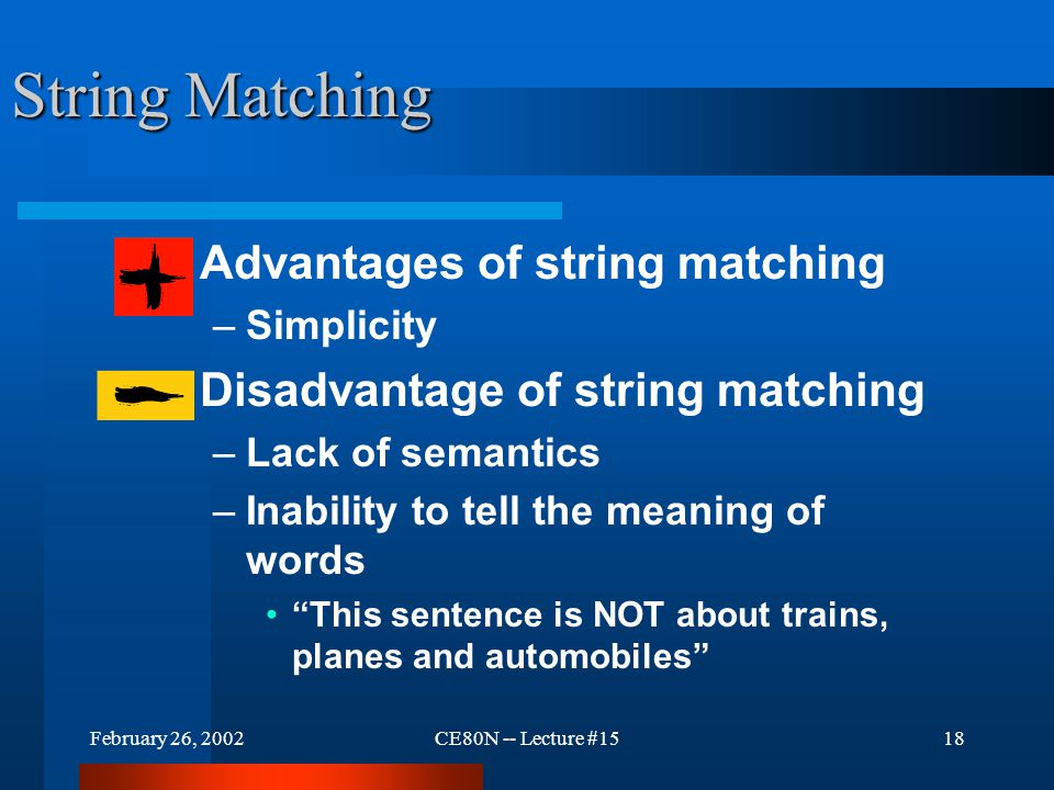February 26, 2002CE80N -- Lecture #1517 Automated Search Services Use String Matching The simplest automated search mechanism is string matching.