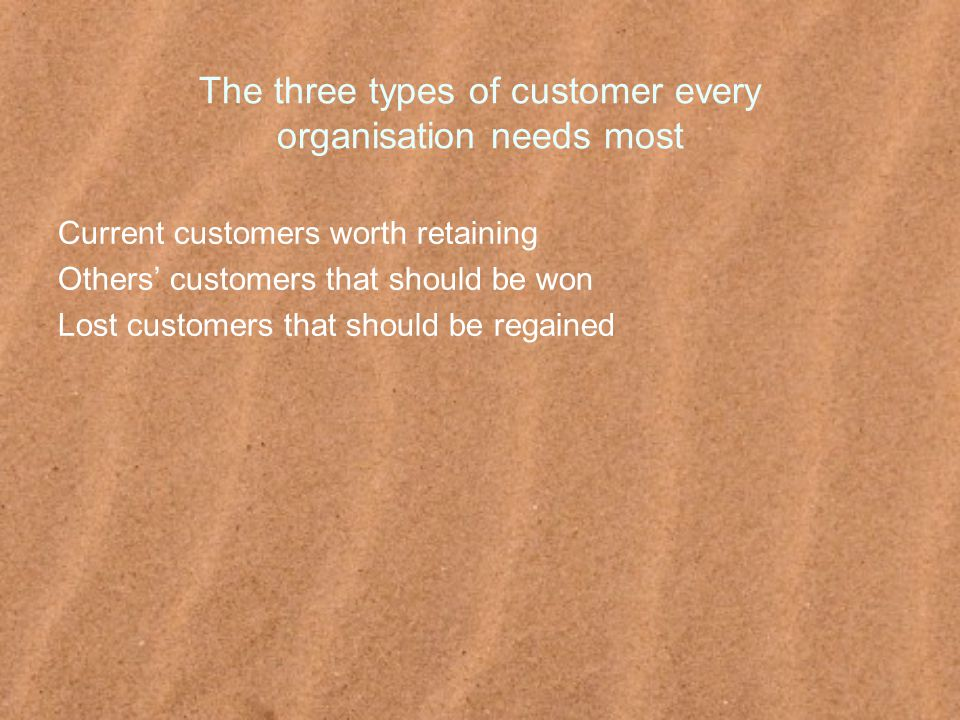 The three types of customer every organisation needs most Current customers worth retaining Others' customers that should be won Lost customers that should be regained