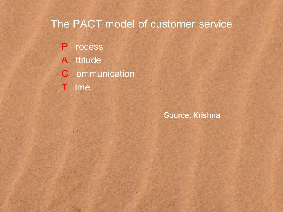 The PACT model of customer service P rocess A ttitude C ommunication T ime Source: Krishna
