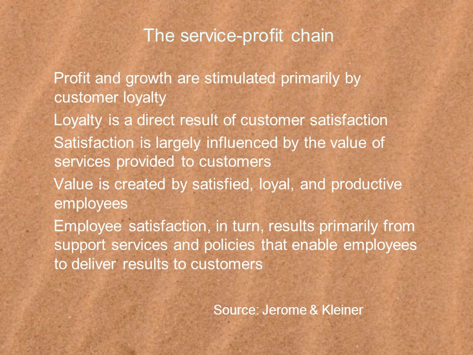 The service-profit chain Profit and growth are stimulated primarily by customer loyalty Loyalty is a direct result of customer satisfaction Satisfaction is largely influenced by the value of services provided to customers Value is created by satisfied, loyal, and productive employees Employee satisfaction, in turn, results primarily from support services and policies that enable employees to deliver results to customers Source: Jerome & Kleiner