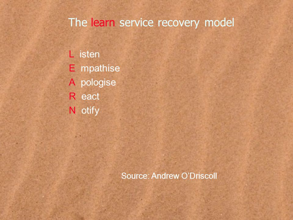 The learn service recovery model L isten E mpathise A pologise R eact N otify Source: Andrew O'Driscoll