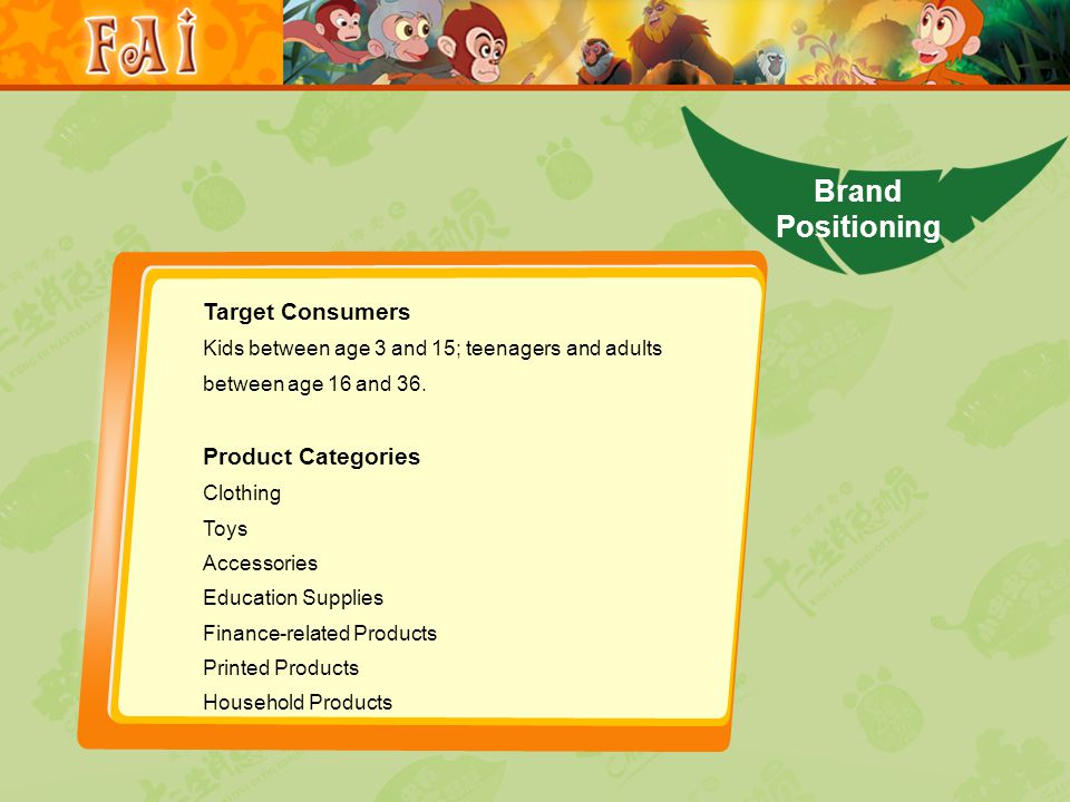Brand Positioning Target Consumers Kids between age 3 and 15; teenagers and adults between age 16 and 36.