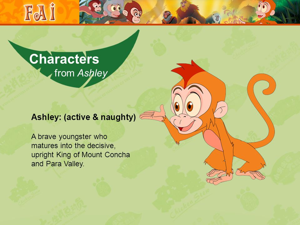 Ashley: (active & naughty) A brave youngster who matures into the decisive, upright King of Mount Concha and Para Valley.
