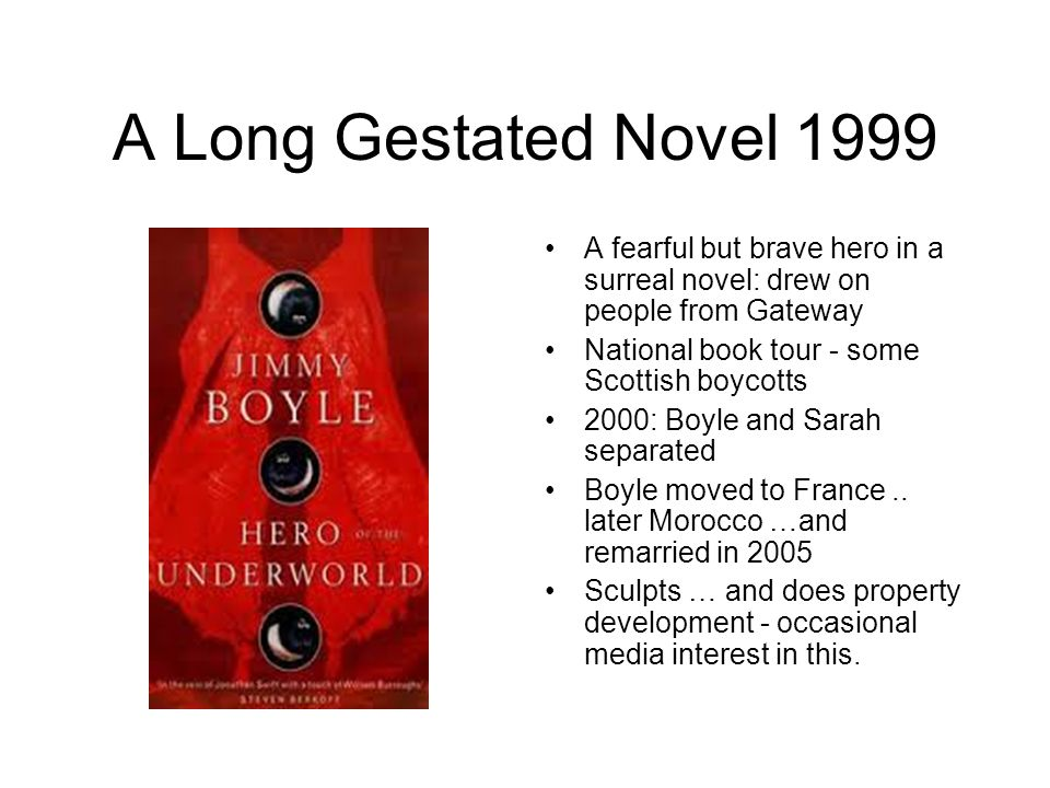 A Long Gestated Novel 1999 A fearful but brave hero in a surreal novel: drew on people from Gateway National book tour - some Scottish boycotts 2000: