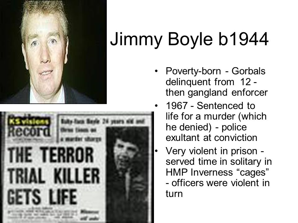 Channel 4 TV Film Expressing new Channel 4's social commitment Writer: Peter McDougal Director John McKenzie Concentrates on Boyle's violence & penal inhumanity (the cages) - no mention of BSU - but ending is iconic a loss, said JimmyReid) Accompanied by major TV discussion on penal reform