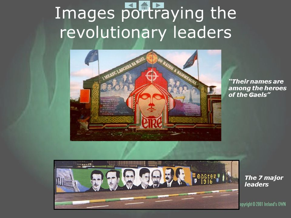 "Images portraying the revolutionary leaders ""Their names are among the heroes of the Gaels"" The 7 major leaders"