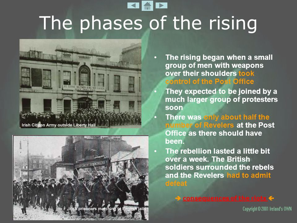 The phases of the rising The rising began when a small group of men with weapons over their shoulders took control of the Post Office They expected to