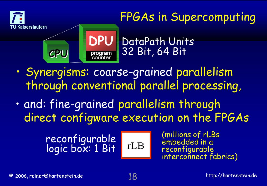 © 2006, reiner@hartenstein.de http://hartenstein.de TU Kaiserslautern 18 FPGAs in Supercomputing Synergisms: coarse-grained parallelism through conventional parallel processing, reconfigurable logic box: 1 Bit and: fine-grained parallelism through direct configware execution on the FPGAs DPU program counter DPU CPU DataPath Units 32 Bit, 64 Bit (millions of rLBs embedded in a reconfigurable interconnect fabrics)