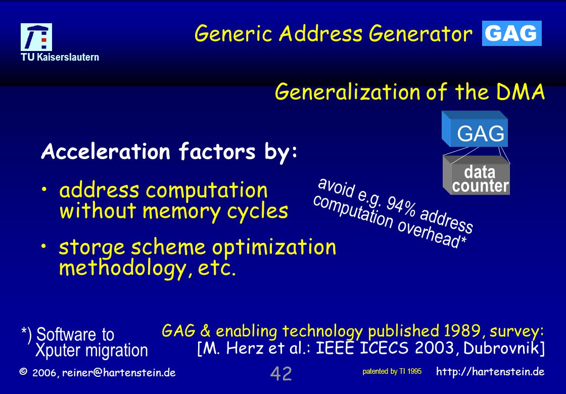 © 2006, reiner@hartenstein.de http://hartenstein.de TU Kaiserslautern 42 Generic Address Generator GAG Generalization of the DMA data counter GAG GAG & enabling technology published 1989, survey: [M.