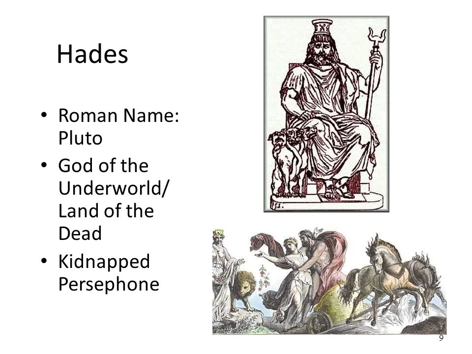 Hades Roman Name: Pluto God of the Underworld/ Land of the Dead Kidnapped Persephone 9