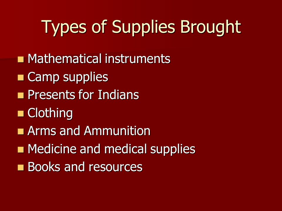 Types of Supplies Brought Mathematical instruments Mathematical instruments Camp supplies Camp supplies Presents for Indians Presents for Indians Clot