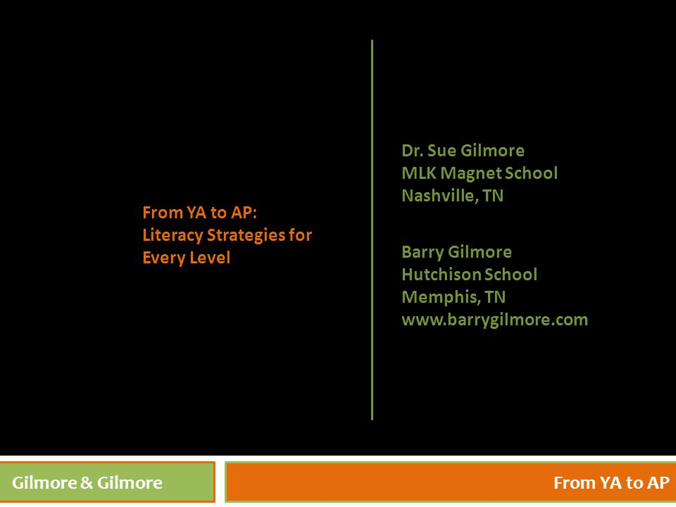 4/27/20151 Gilmore & GilmoreFrom YA to AP Barry Gilmore Hutchison School Memphis, TN www.barrygilmore.com From YA to AP: Literacy Strategies for Every