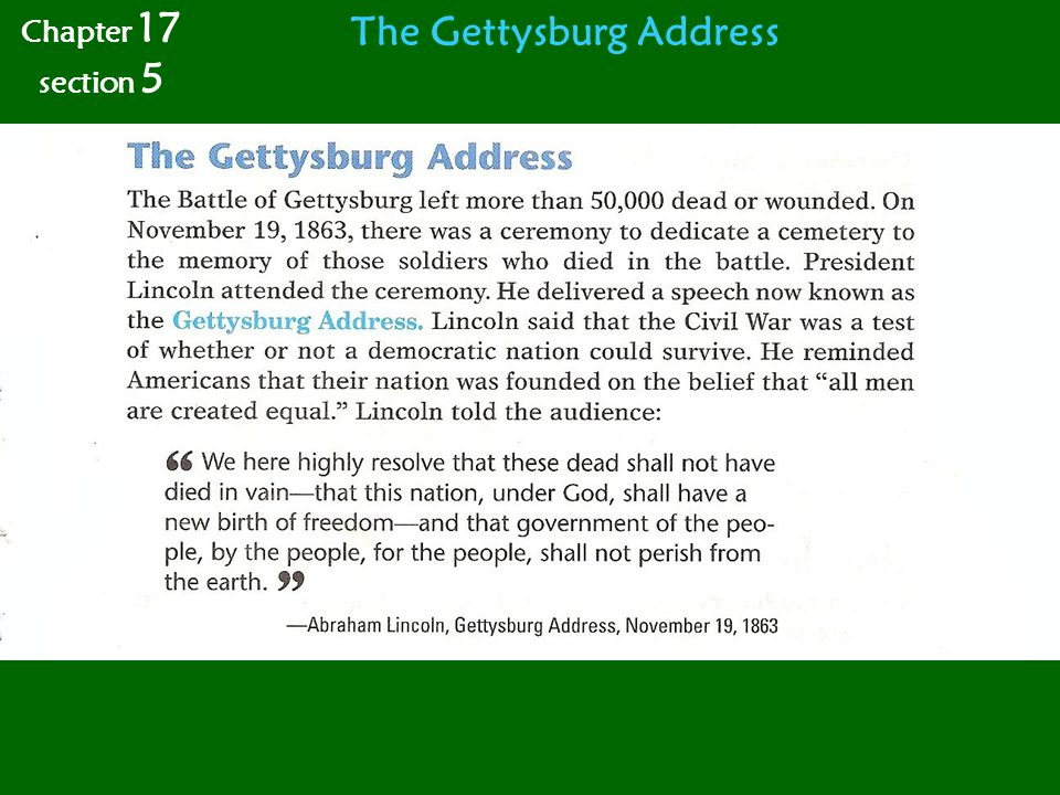 The Gettysburg Address Chapter 17 section 5