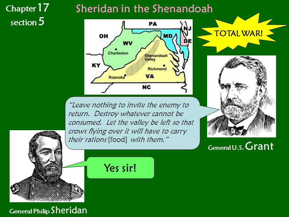 """Sheridan in the Shenandoah General Philip Sheridan TOTAL WAR! General U.S. Grant Yes sir! """"Leave nothing to invite the enemy to return. Destroy whatev"""