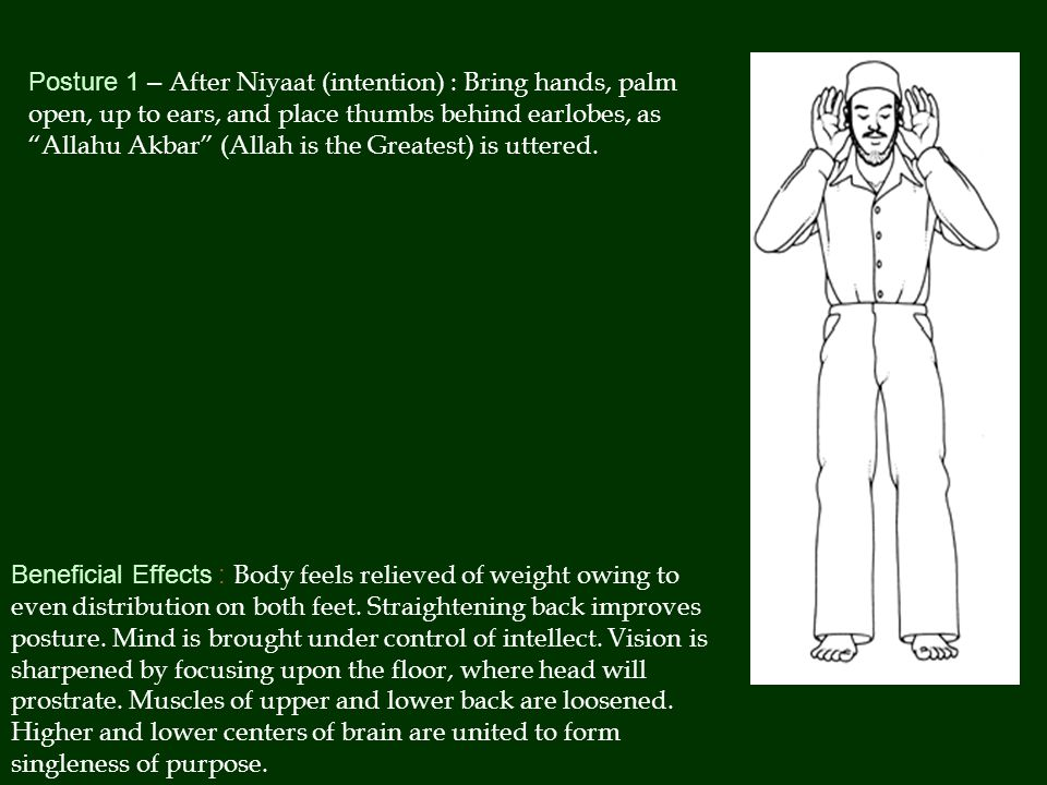 Posture 1 – After Niyaat (intention) : Bring hands, palm open, up to ears, and place thumbs behind earlobes, as Allahu Akbar (Allah is the Greatest) is uttered.